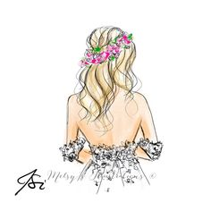 The floral crown by melsys on etsy cute wallpaper for phone, graphic design illustration, Girly Drawings, Cool Art Drawings, Jamel, Cute Wallpaper For Phone, Bridal Fashion Week, Fashion Art, Fashion Design, Illustration Girl, Floral Crown