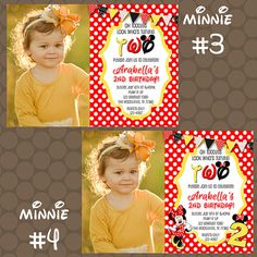 Minnie Mouse Red Yellow Polka Dot Birthday Party invitations by KDesigns2006 Minnie Mouse Birthday Invitations, Polka Dot Birthday, Digital Prints, Polka Dots, Printable, Yellow, Printed, Handmade Gifts, Red