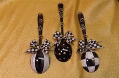 Mackenzie Childs Spoon Ornaments Ribbon Bows Hand Painted