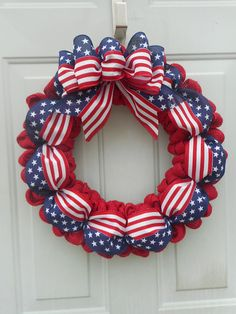 Patriotic wreath Memorial Day wreath July 4th wreath Stars and