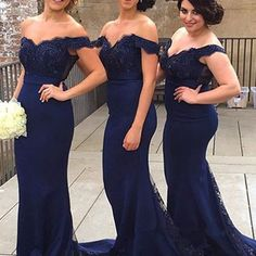 A31 sweetheart neck off shoulder navy blue lace prom dresses, navy blue lace bridesmaid dress, formal dress