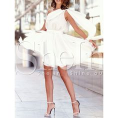 White One Shoulder Pleated Dress ($19) ❤ liked on Polyvore featuring dresses, pleated cocktail dress, one shoulder cocktail dress, one shoulder pleated dress, single shoulder dress and white dress