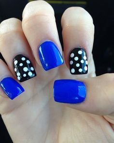 love this but maybe one sparkly nail an one solid black.. not a fan of polkadots but looove the royal blue
