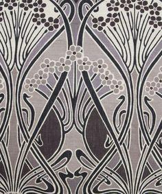 Grey Ianthe print by Liberty of London Furnishing Fabrics.Famous art nouveau pattern.