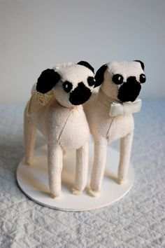 Pug Cake Topper by sian on Etsy, $150.00--- this just made me want cat cake toppers... Yah I'm crazy. Not saying I would do it but Lincoln and Astrid are adorable.