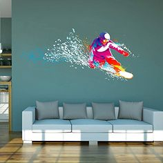 cik114 Full Color Wall decal snowboarding snowboarder snow sport spray paint room Bedroom >>> Check out the image by visiting the link.