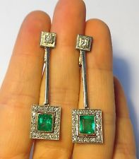 WOW! Art Deco 1.75CTW Emerald and 1.65CTW Diamond 18K White Gold Earrings