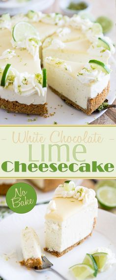 This No Bake White Chocolate Lime Cheesecake is a cross between a Key lime pie and a creamy, no bake cheesecake The result Your PERFECT summer dessert - food_drink Summer Desserts, No Bake Desserts, Just Desserts, Delicious Desserts, Dessert Recipes, Health Desserts, Baking Desserts, Health Foods, Lime Cheesecake No Bake