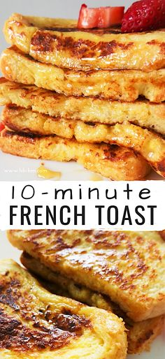 Learn how to make French toast with this super and easy recipe! You don't need any special ingredients to make this tasty and easy breakfast! With cinnamon and honey, this breakfast might even be better than pancakes! Awesome French Toast Recipe, Best French Toast, Overnight French Toast, Cinnamon French Toast, Fast French Toast Recipe, French Toast Pancakes Recipe, French Toast Without Milk, Cinnamon Toast Recipe, Healthy French Toast