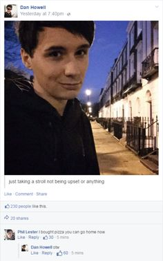 Imagine a Phan AU where Dan posted this after him and Phil had a fight and the comments below are what happened afterwards