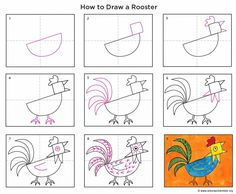 Rooster Drawing - Look for Collage