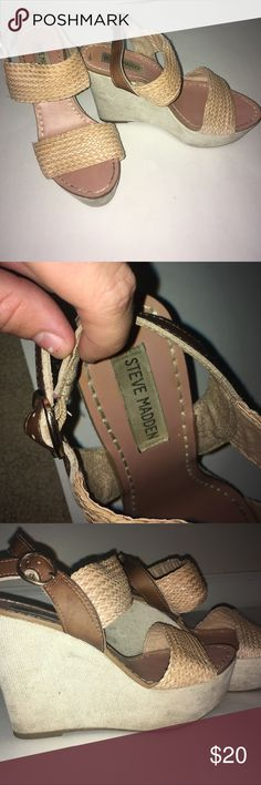 Steve Madden Wedges Worn a couple of times and with a white wedge are slightly dirty but can be cleaned. Perfect for the summer with tan woven straps and gold buckle to fasten. Super comfortable to walk in Steve Madden Shoes Wedges