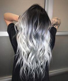 ❄️ ICY HAIR ❄️ for this snowy day - Saç rengi fikirleri - Haarfarben Hair Dye Colors, Ombre Hair Color, Cool Hair Color, Silver Ombre Hair, Black And Silver Hair, Black To Grey Ombre Hair, Dyed Hair Ombre, Dark Grey Hair Charcoal, Silver Hair Colors