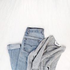 "everlane: ""Casual."" - @jess_hannah, cuffed jeans, grey sweater"