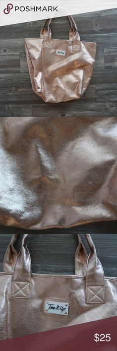 Rose gold beach bag Tone It Up Good condition beach bag from bikini series. Tone It Up Bags Totes