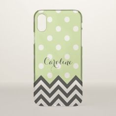 Custom Fun Black White Zigzag Polkadots Pattern iPhone X Case - trendy gifts cool gift ideas customize