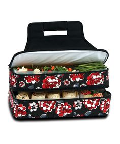 Picnic Plus Red & Black Floral Entertainer Food Carrier | This unique container is perfect for transporting casseroles and meals to potlucks, parties, picnics and outdoor events. An insulated, leak-proof PEVA-lined top and a hidden serving utensil pocket add to its functionality. Two expandable compartments accommodate both hot and cold items, while the thermal foil lining on the lower section helps maintain food temperatures.