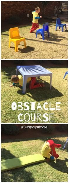 Obstacle Course, fun gross motor activities at home! #justplayathome