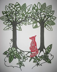 Fox and deer themed paper cuts by Clare Kelly.