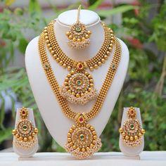 Antique Flower Design Multicolor Semi Bridal Necklace Set