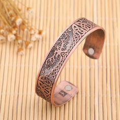 My Shape Health Care Magnetic Bracelet Open Cuff Bangle with Bird Knot Personalized Fashion Jewelry Antique Silver