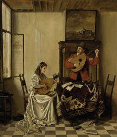 """""""The music lesson"""". Franz Xaver Wolf (1896-1990), Austrian artist."""