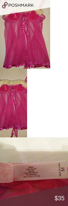 victoria secret hot pink creme fur baby doll Euc Medium  sheer mesh ties on the back adjustable back Medium cup Size u would match u bathing suit top size w this and the fit should work it's stretchy and ties along the back is how it would git fur looks very yellow in photos but it's not stained or dirty it's just how it appears this is a very new item was on display but nobody ever used it for photo shoots in my studio  medium baby doll hits the thigh area.perfect w thong or boots shorts VS…
