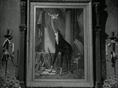 Adams Family.....I believe this giraffe in the portrait was referred to as a family ancestor in one episode (does anyone remember?):