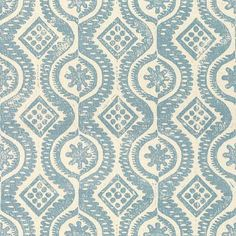 Curtains for loft.Damask in Blue from Lee Jofa