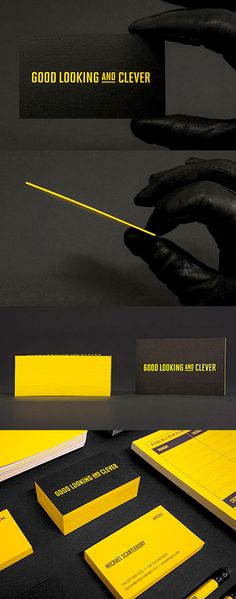 Eye Catching Black And Yellow Edge Painted Business Card