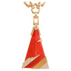 Henry Dunay Massive Modernist Coral Diamond Gold Pendant | From a unique collection of vintage drop necklaces at https://www.1stdibs.com/jewelry/necklaces/drop-necklaces/
