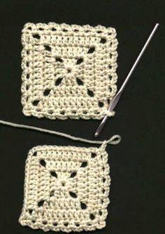 (Ch skip next st, sc in the next st) all… Flat Braid Square Joining Method . (Ch skip next st, sc in the next st) all around first square, working (ch Sigue leyendo → Joining Crochet Squares, Crochet Square Blanket, Crochet Motifs, Crochet Blocks, Granny Square Crochet Pattern, Crochet Stitches Patterns, Granny Squares, Crochet Granny, Love Crochet