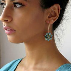 dangle Turquoise Flower Earrings, Long Turquoise earrings, Unique Turquoise Swarovski Handmade beaded, goldfilled 14k earrings Gift for her