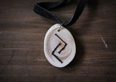 JERA rune necklace  Wooden rune necklace  Juniper pendant