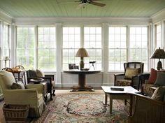 Room for game table, Round table in front of window can double as dining. Southern Cottage, Southern Homes, Modern Farmhouse Plans, Farmhouse Design, Low Country, Modern Country, Historical Concepts, Plantation Style Homes, Antebellum Homes