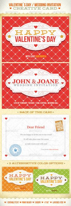 Valentine's Day And Wedding Invitation Postcard - GraphicRiver Item for Sale #typography #colors