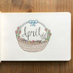 I'm super behind on my journal (aka haven't even done a calendar for this month yet) but here's a cute easter basket title page ‍♀️ #priorities #titlepage #landscapebulletjournal #bulletjournal #april #bujo #easterbasket
