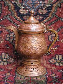 Indo Persian Carved Copper Samovar Snake Handle Coal Chamber, Copper Utensils, Sassanid, Iron Decor, Kettles, Ottomans, Islamic Art, Wood Art, Metallica