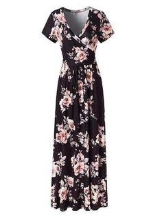af240fafa0 Vintage Floral Short Sleeve Maxi Dress