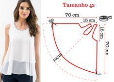 Sewing Blusas molde blusa gode - Aprende a hacer una blusa godet en pocos pasos. Dress Sewing Patterns, Blouse Patterns, Sewing Patterns Free, Clothing Patterns, Sewing Hacks, Sewing Tutorials, Sewing Projects, Sewing Ideas, Make Your Own Clothes