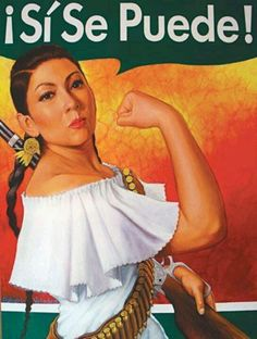"""Rosie the Riveter a Latina version said Valadez, who titled the artwork """"Rosita Adelita."""" Valadez chose to combine Rosie w/ La Adelita, fictional character from the Mex Rev b/c he says both are feminist archetypes that speak to the empowerment of women. Mexican American, American History, Mexican Revolution, Pin Up, Hispanic Heritage, Mexican Heritage, Indian Heritage, Chicano Art, Chicano Studies"""