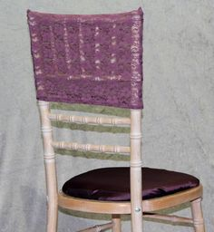 Purple lace hood and purple satin seat pad cover
