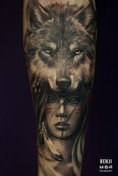 Wolf Girl Tattoos, Girl Face Tattoo, Baby Tattoos, Head Tattoos, Body Art Tattoos, Native American Tattoos, Native Tattoos, Tribal Arm Tattoos, Cool Forearm Tattoos