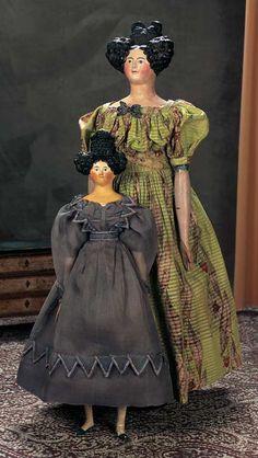 Rare Grand-Size Paper Mache Lady Doll w/Superb Coiffure and Original Costume, Germany, circa 1840