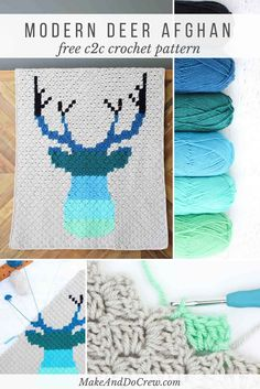 This corner to corner crochet deer afghan makes a modern baby blanket or larger throw. The free pattern is a great c2c project for beginners via @makeanddocrew