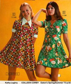 I remember dresses like this in 8th and 9th grade. Kathy Loghry & Colleen Corby for Eatons 1973