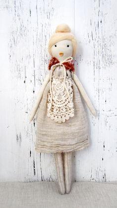 Cloth doll, Rag doll, handmade, retro, one of a kind/ Nina. $120.00, via Etsy.