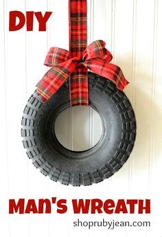 DIY Man's Wreath!! Would be cool for a garage or shed lol - make for jeremy next year!   toooo fun.