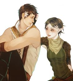 If only Carver in Dragon Age 2 was actually this nice to party members like Merrill. ~Carver and Merrill by snowy-town