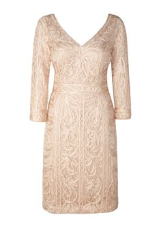 SUE WONG Three-Quarter Sleeve V-Neck Dress with Applique in Champagne/Silver